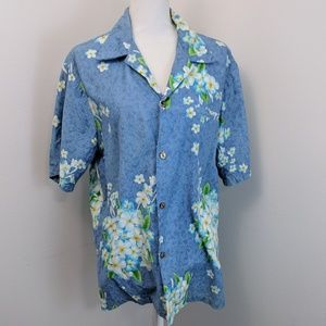 Vintage HRH His Royal Highness Blue Aloha Shirt L